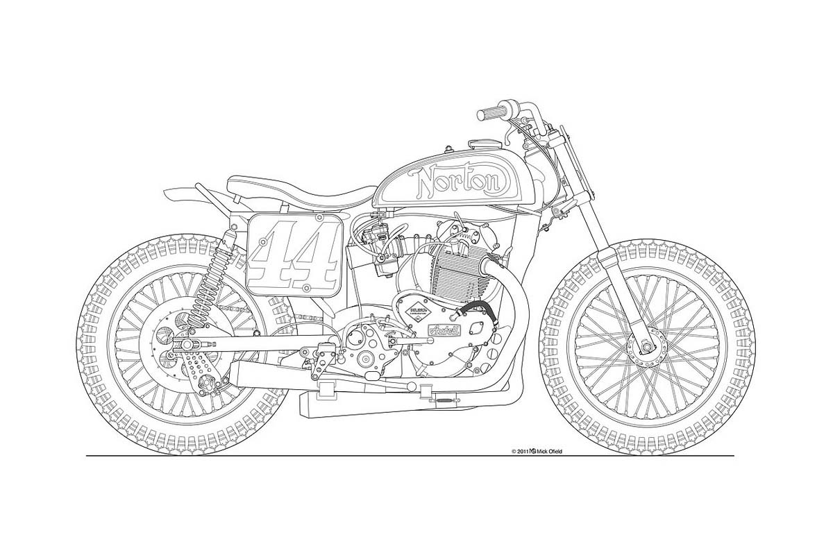 Line Drawing Bike : Photos some classic motorcycle line art drawings