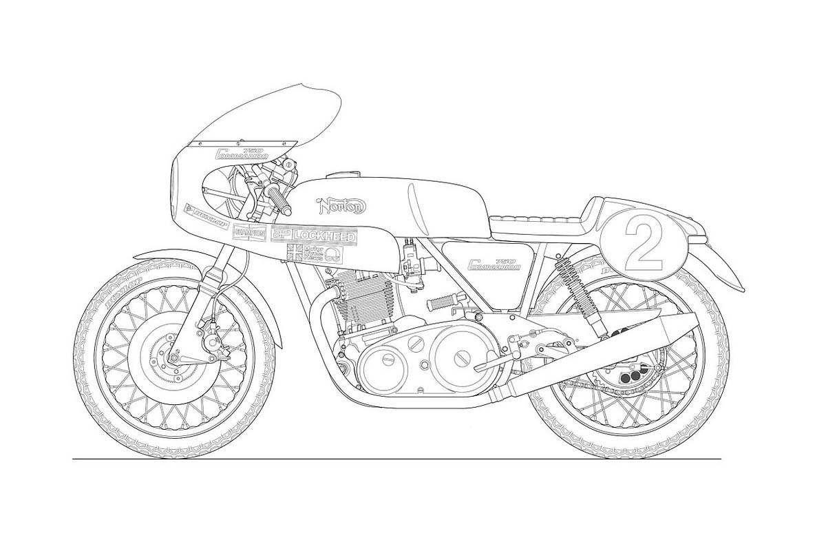 Line Drawing From Photo Photo : Photos some classic motorcycle line art drawings
