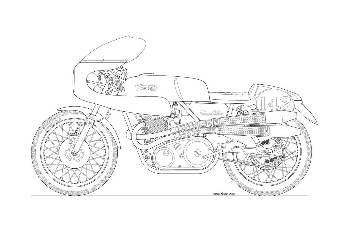 Line Art Motorcycle : Photos some classic motorcycle line art drawings