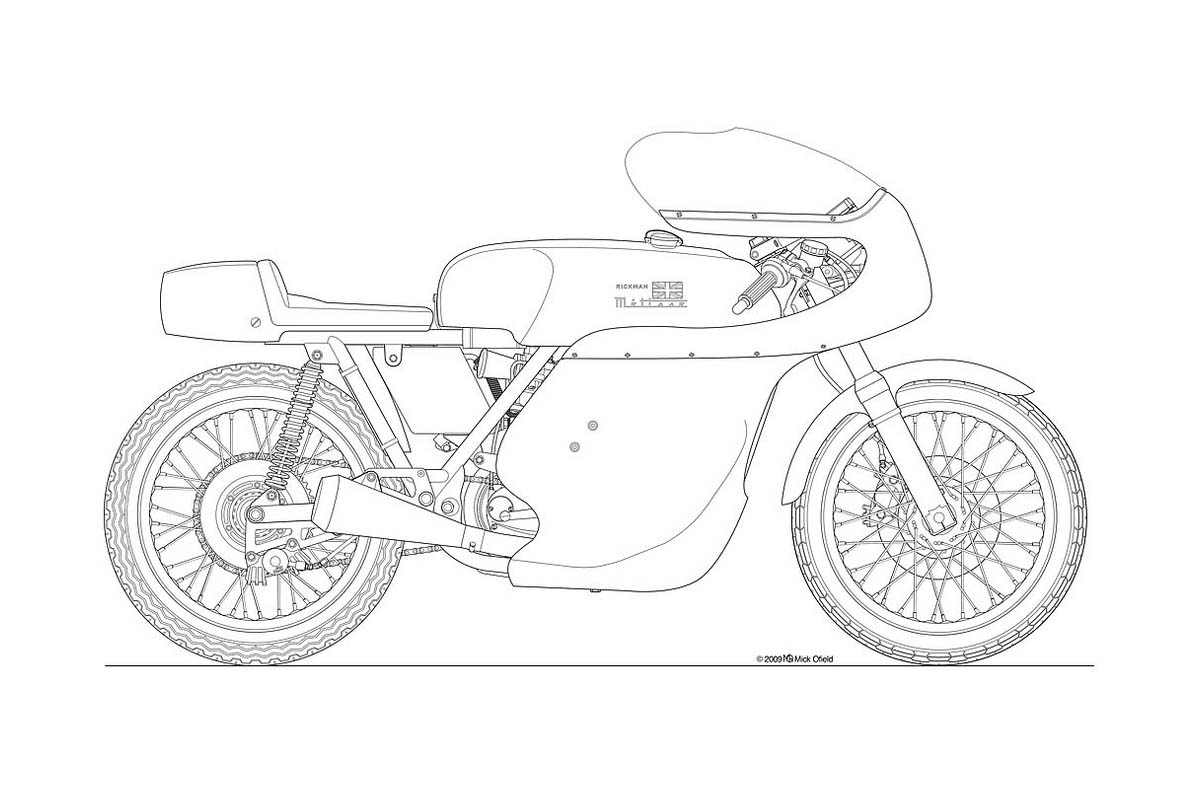 Line Art Motorcycle : Racing motorbike drawing