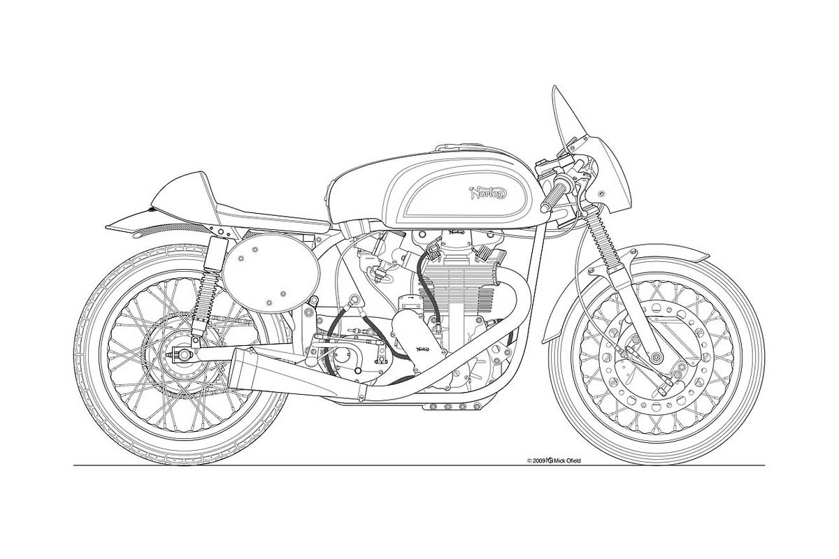 Photos Some Classic Motorcycle Line Art Drawings Asphalt Rubber