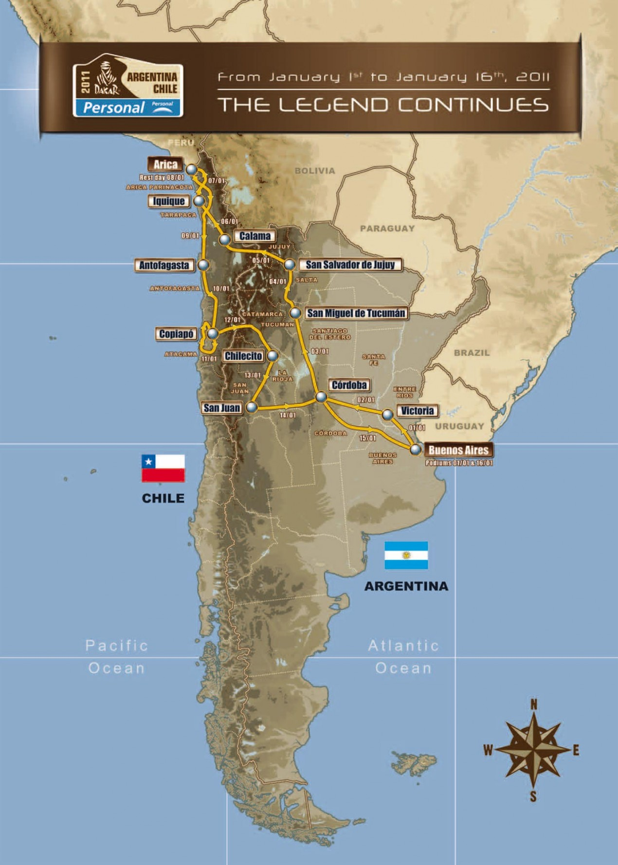 Dakar Rally Releases Route for 2011 Dakar Rally route map 2011 635x889