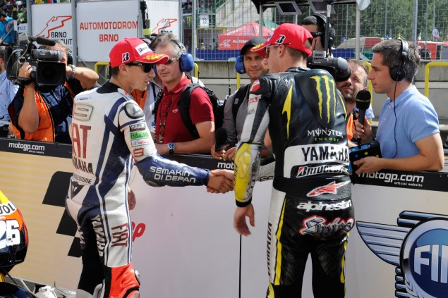 Caption This Photo: Teammates Jorge Lorenzo Ben Spies Brno test 635x423