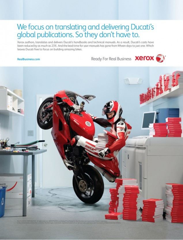 Video: Ducati Helps Xerox Sell Some Copiers Xerox and Ducati Print Ad 635x830