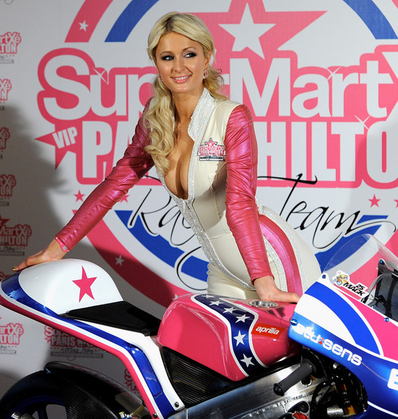 Team SuperMartxé VIP by Paris Hilton Launches   Further Down the Downward Spiral? Paris Hilton 125GP motorcycle race team launch 14