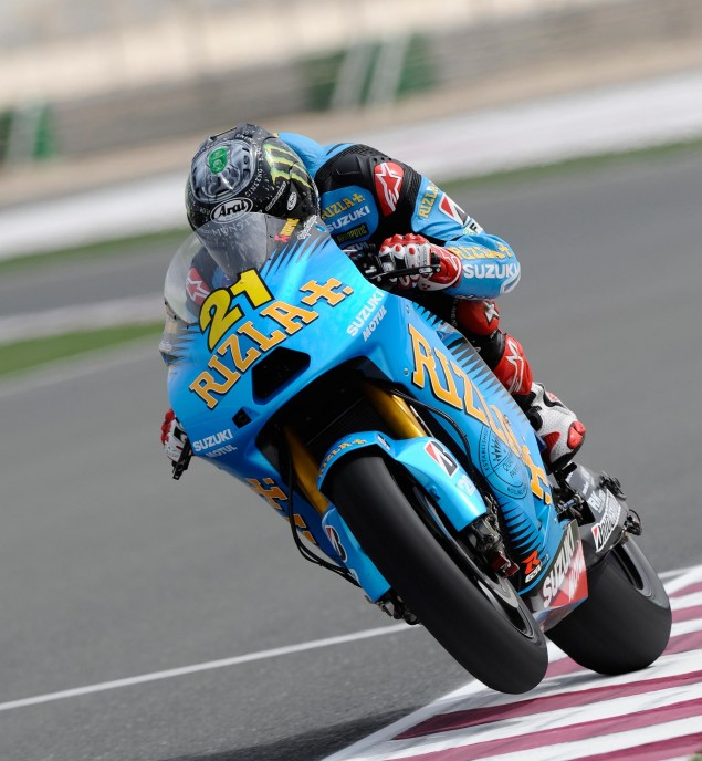 John Hopkinss Test with Rizla Suzuki Proves to be Literally Little More than a PR Stunt John Hopkins Rizla Suzuki Qatar test 635x688