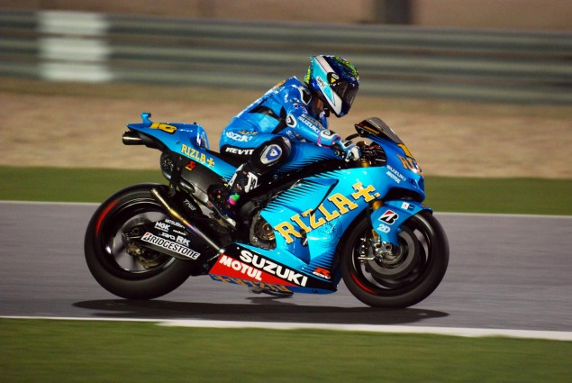 Rizla Suzuki to Sit Out Qatar GP Rizla Suzuki Alvaro Bautista foot drag 635x425