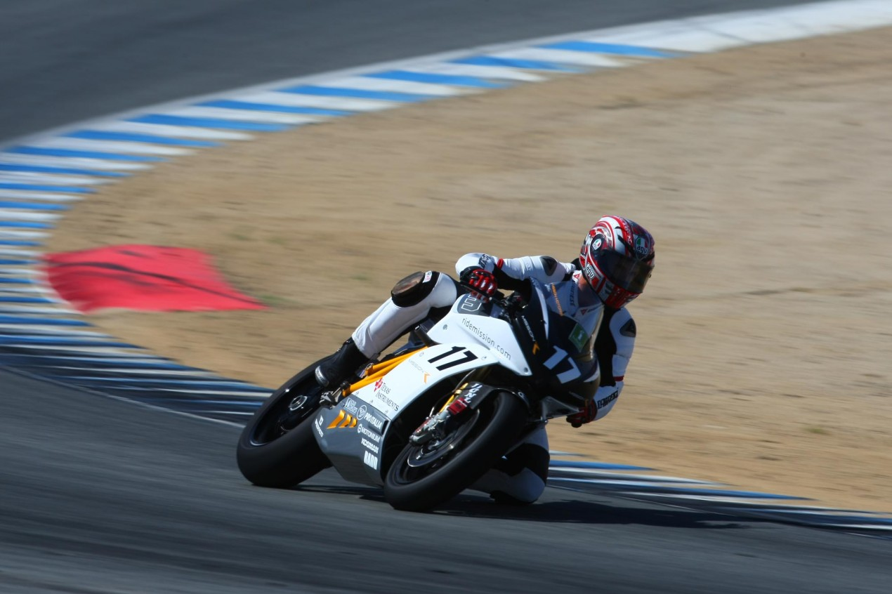 Twelve Entries for the FIM/TTXGP Round at Laguna Seca Mission Motors Steve Rapp Laguna Seca 635x423