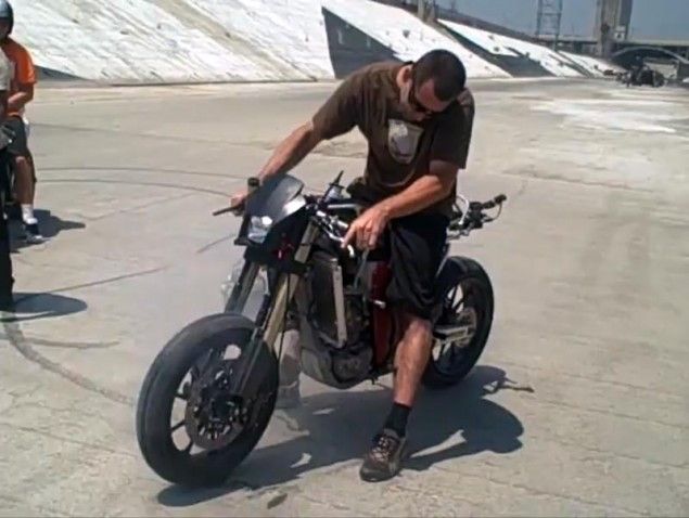 The First Front Wheel Burnout on a Motorcycle RSD Christini front wheel burnout 635x478
