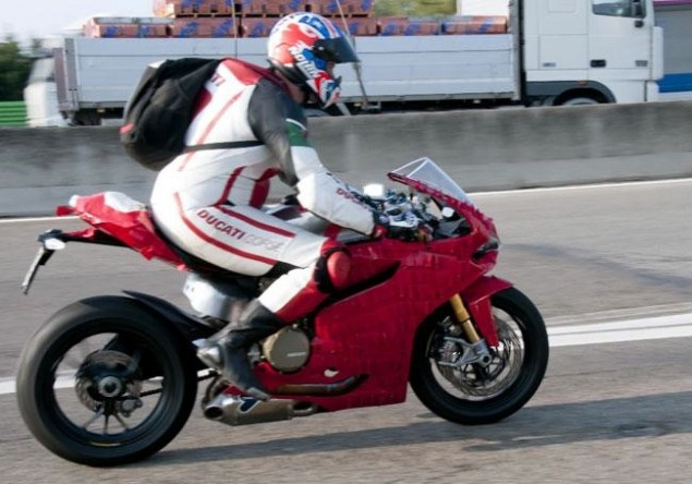 Spy Photos: Ducati 1199 Panigale Load Testing 2012 Ducati 1199 Panigale load test 2 635x444