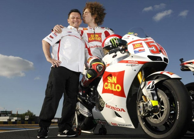 Simoncelli Re Signs with Gresini   Factory Honda for 2012 Marco Simoncelli Fausto Gresini MotoGP 635x455