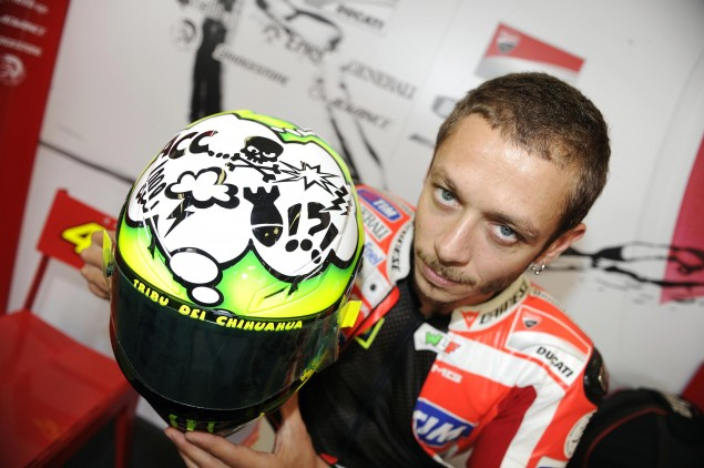 Rossi Gets Deliciously Cryptic after GP12 Test at Mugello Valentino Rossi Misano Helmet 635x422