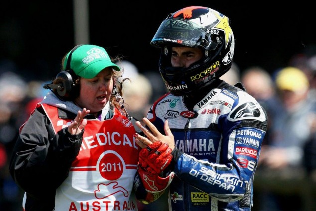 Jorge Lorenzo Injures Finger in Phillip Island Warm Up Crash   Out of Australian GP Jorge Lorenzo finger Phillip Island 635x423