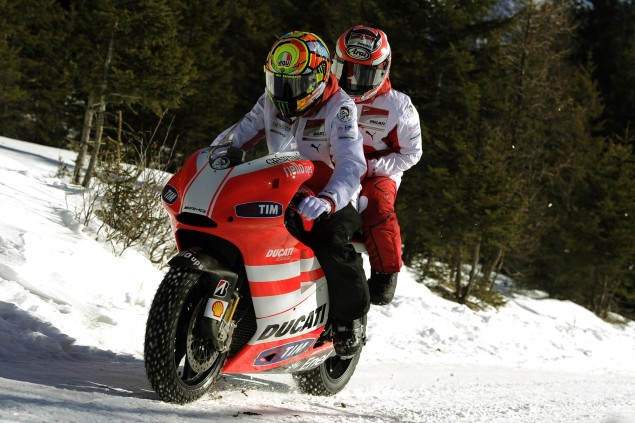 Maybe If It Snow, I Can Win   Valentino Rossi, July 2011 Ducati Corse snow Rossi Hayden 635x423