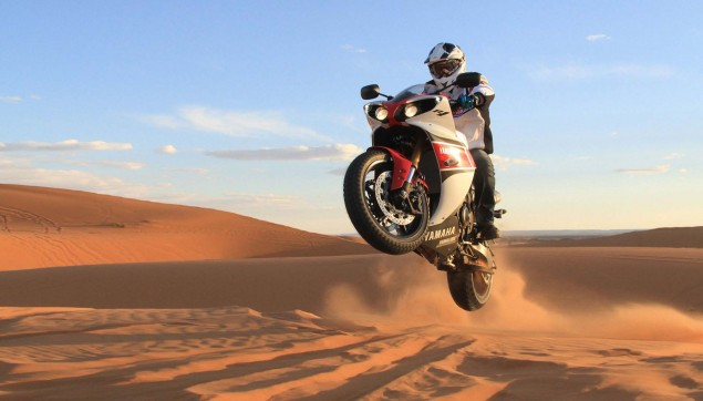 Yamahas 180hp Adventure Bike is Our Kind of Crazy Yamaha YZF R1 sand dunes 07 635x362
