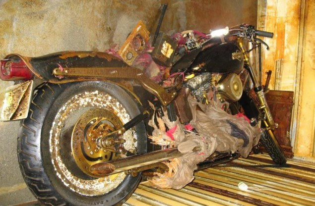 Motorcycle from Japanese Tsunami Washes Up in Canada  tsunami washed up harley davidson 635x416