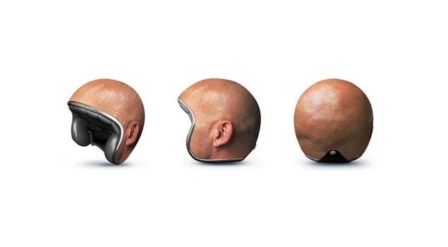 In the Future, Will You Even Wear a Helmet? Human Head Motorcycle Helmet 635x350