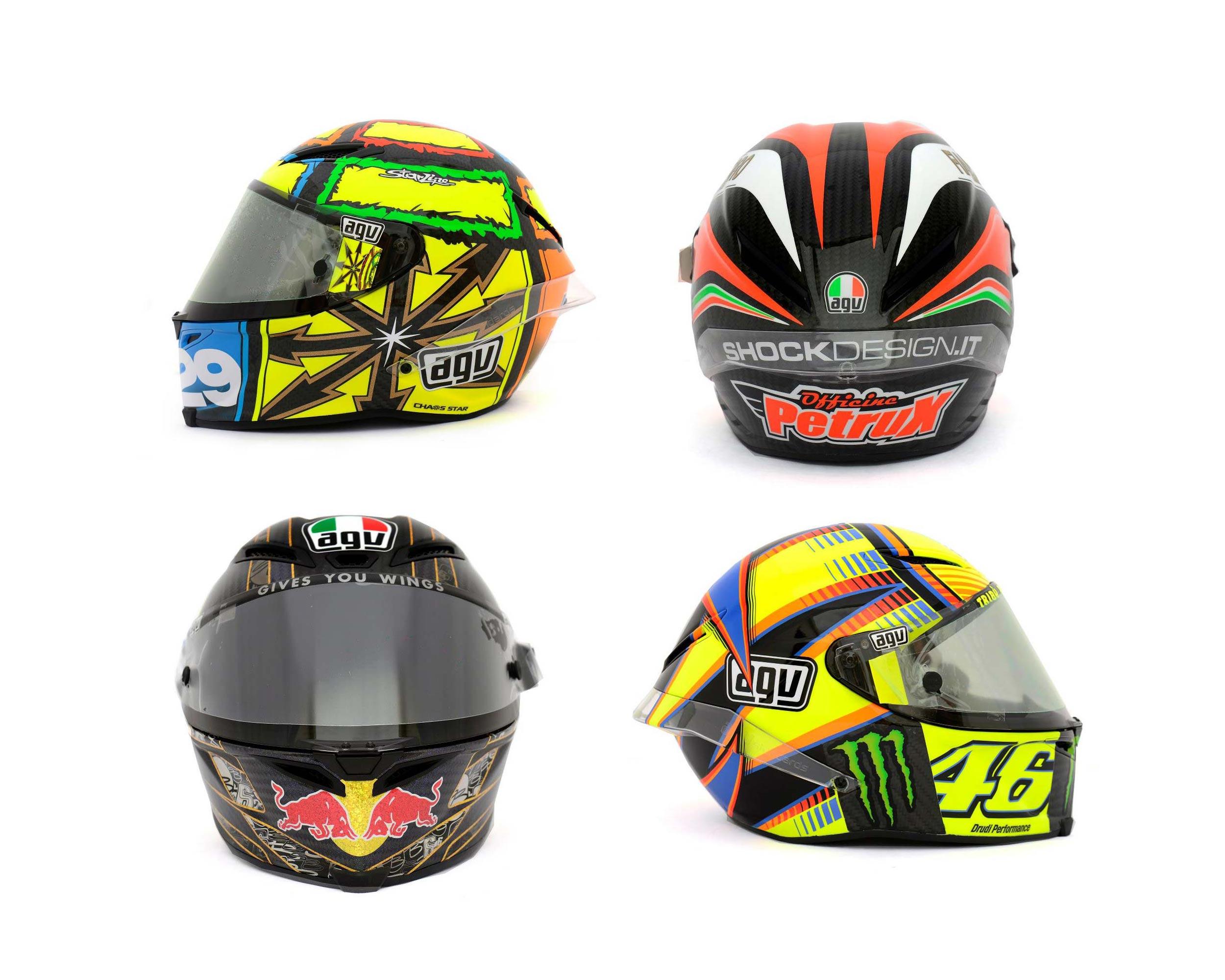 photos the five agv pista gp helmets in motogp asphalt rubber. Black Bedroom Furniture Sets. Home Design Ideas