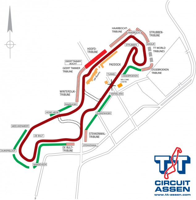 Preview of Assen: Does a Flowing Track & A Final Chicane Make for a Recipe of Thrills?  TT Circuit Assen plattegrond 635x647