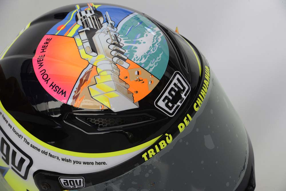Photos: Valentino Rossis Pink Floyd Helmet at Misano Valentino Rossi Misano Helmet wish you were here 12
