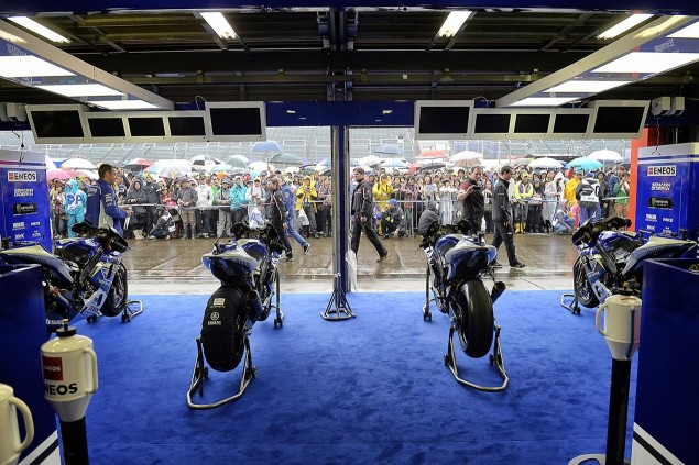 Friday Summary at Motegi: Of Fog, Earthquakes, & Trigger Happy PR Teams yamaha motogp pit box motegi japan 635x423
