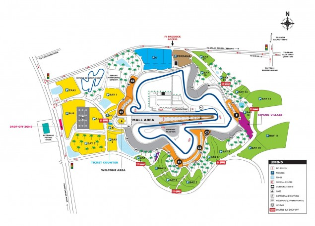 Sepang MotoGP Test Preview   Honda vs. Yamaha, Open vs. Factory, & What Will Ducati Do? Sepang International Circuit SIC map 635x457