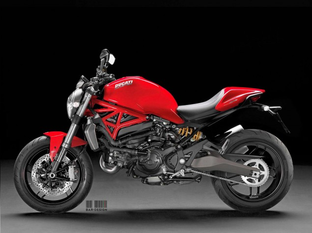 This Is Pretty Much What the Monster 800 Will Look Like 2015 Ducati Monster 800 Luca Bar Design red 635x475