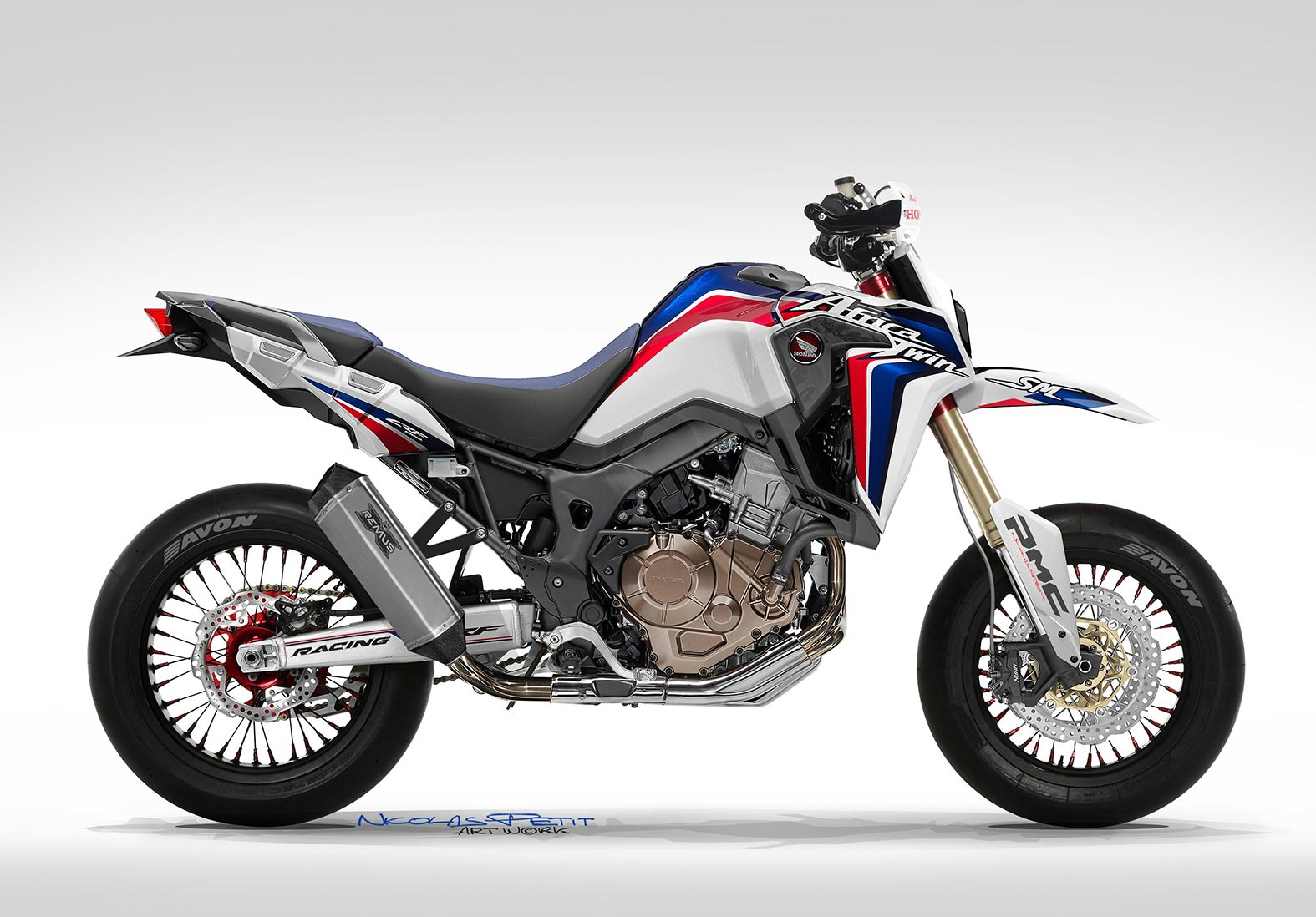 honda africa twin supermoto concept by nicolas petit. Black Bedroom Furniture Sets. Home Design Ideas