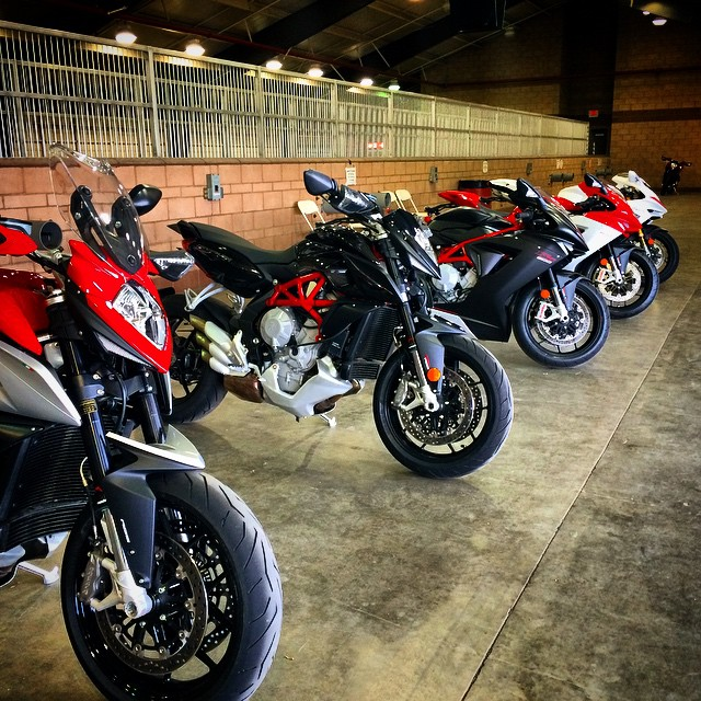 Down at Fontana, checking out the 2015 MV Agusta lineup.